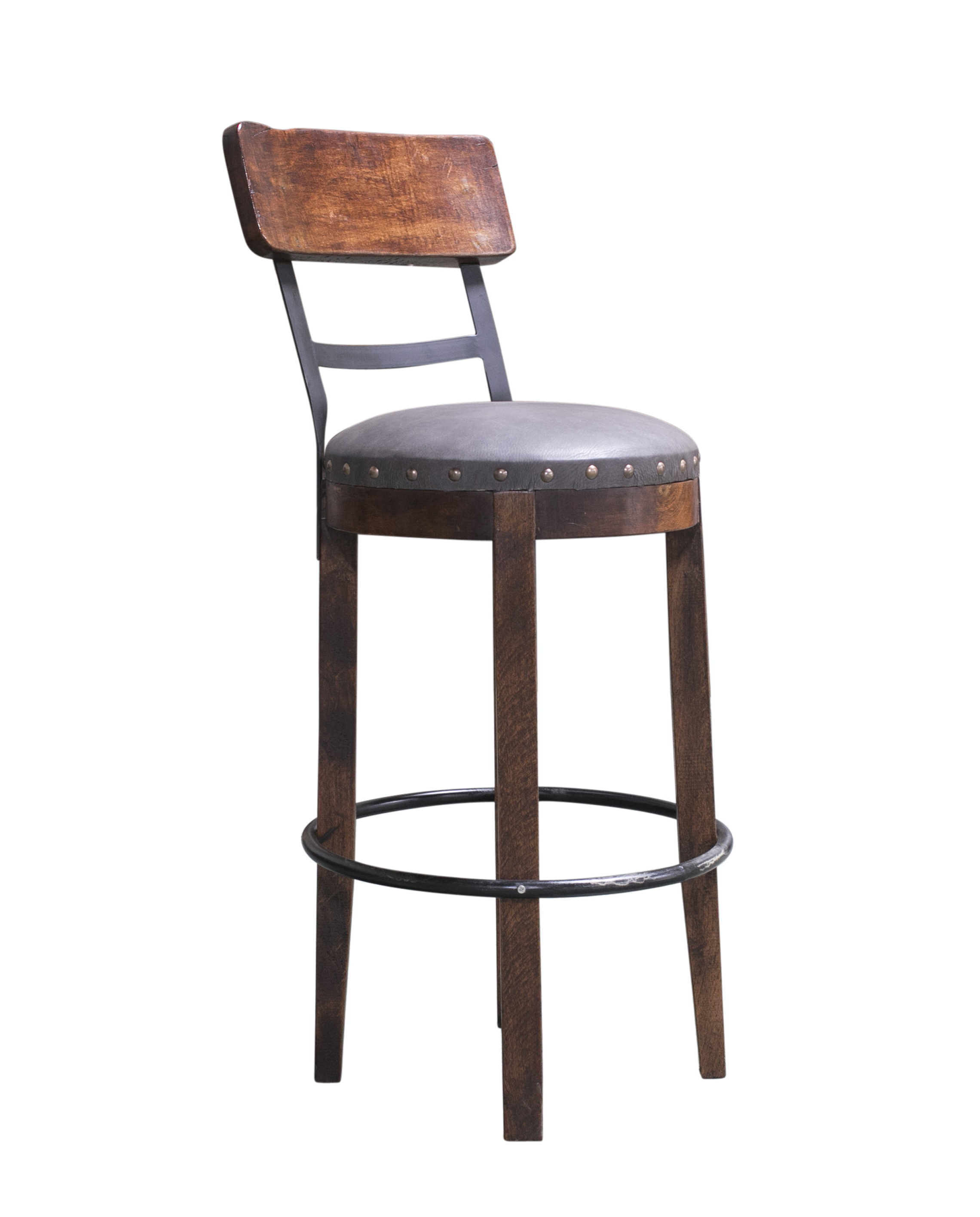 gray leather barstool
